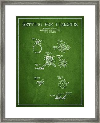 Setting For Diamonds Patent From 1918 - Green Framed Print by Aged Pixel