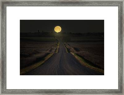 Setting Supermoon Framed Print by Aaron J Groen