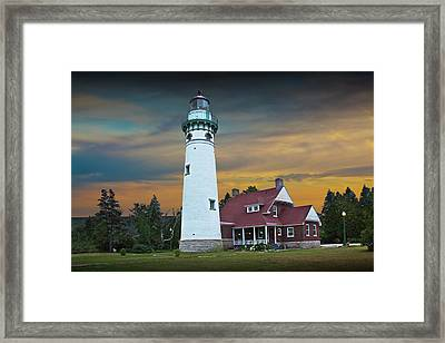 Seul Choix Point Fog Signal Building At Sunset Framed Print by Randall Nyhof