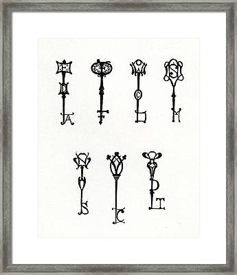 Seven Designs Of Initial Keys Framed Print by Aubrey Beardsley