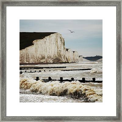 Seven Sisters Chalk Cliffs Framed Print by Peter Funnell