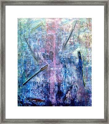 Seven Zippers Framed Print by Nancy Mueller