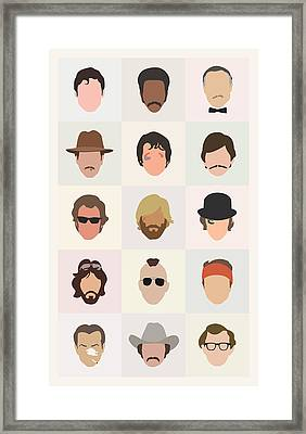 Seventies Movie Dudes Framed Print by Mitch Frey