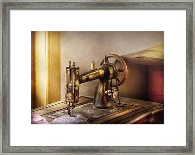 Sewing - A Black And White Sewing Machine  Framed Print by Mike Savad