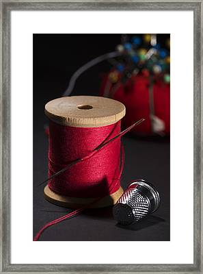 Sewing Equipment - Needle And Thread Framed Print by Donald Erickson
