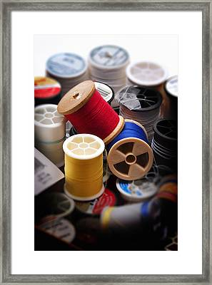 Sewing Equipment - Spools Of Thread Framed Print by Donald Erickson