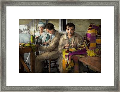 Sewing - Knitting Helps Me To Relax... 1917 Framed Print by Mike Savad
