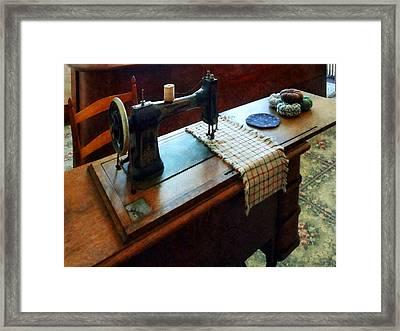 Sewing Machine And Pincushions Framed Print by Susan Savad
