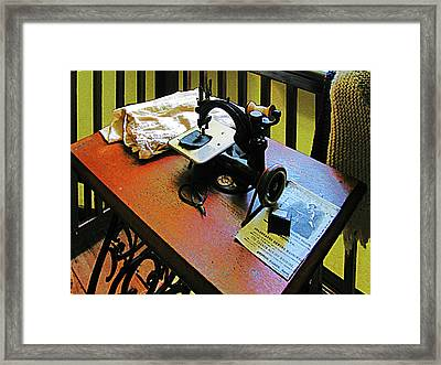 Sewing Machine With Cloth Framed Print by Susan Savad