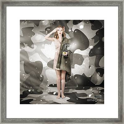 Sexy Army Girl Saluting On Snow Camo Background Framed Print by Jorgo Photography - Wall Art Gallery