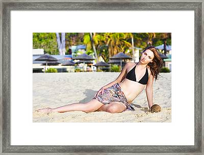 Sexy Bikini Babe In Tropical Paradise Framed Print by Jorgo Photography - Wall Art Gallery