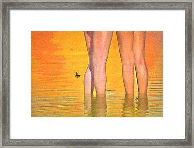 Sexy Legs Wading In The Water Framed Print by L Wright