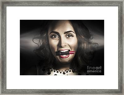 Sexy Lips Pin-up Beauty Framed Print by Jorgo Photography - Wall Art Gallery