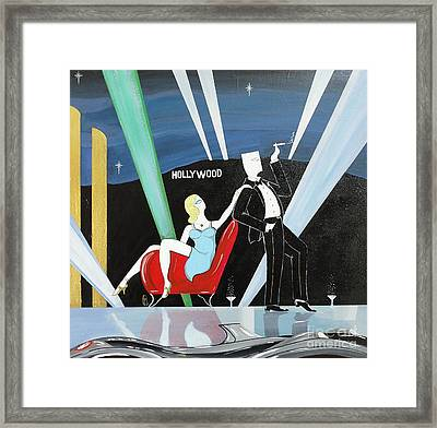 Sexy Starlet Sitting In Chair With Dashing Debonaire Date Framed Print by John Lyes
