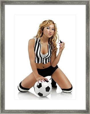 Sexy Young Woman With A Soccer Ball Framed Print by Oleksiy Maksymenko