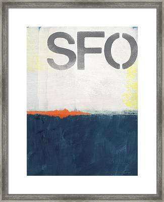 Sfo- Abstract Art Framed Print by Linda Woods