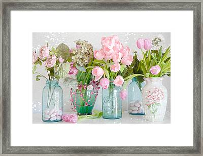 Shabby Chic Cottage Ball Jars And Tulips Floral Photography - Mason Ball Jars Floral Photography Framed Print by Kathy Fornal