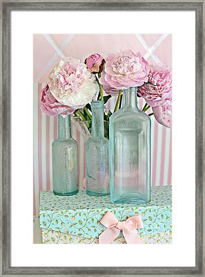 Shabby Chic Pink White Aqua Peonies With Vintage Aqua Bottles - Romantic Shabby Chic Peonies Framed Print by Kathy Fornal