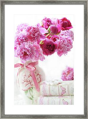 Shabby Chic Romantic Pink And Red Peonies - Peonies Romantic Floral Decor Framed Print by Kathy Fornal