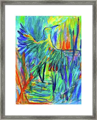 Shadow Heron Framed Print by Kendall Kessler