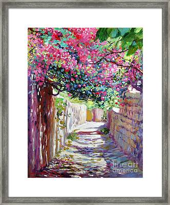Shady Lane Greece Framed Print by David Lloyd Glover