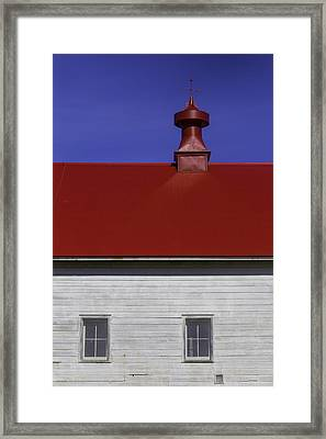 Shaker Red Roof Framed Print by Garry Gay