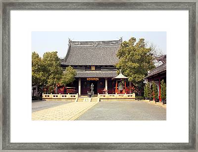 Shanghai Confucius Temple - Wen Miao - Main Temple Building Framed Print by Christine Till