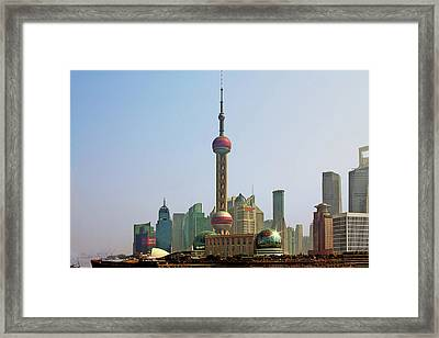 Shanghai Pudong - Today Denser Than Yesterday But Less Than Tomorrow Framed Print by Christine Till