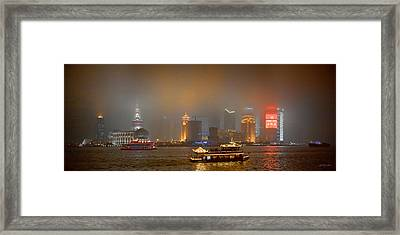 Shanghai Skyline At Night Framed Print by James Dricker