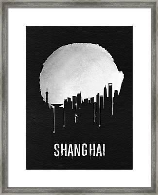 Shanghai Skyline Black Framed Print by Naxart Studio
