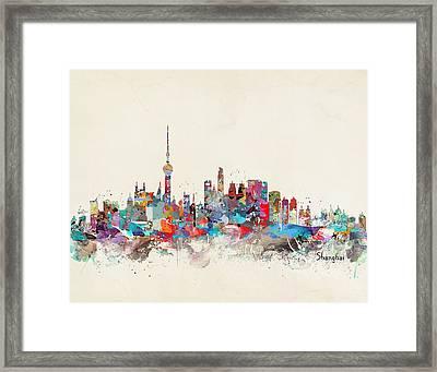 Shanghai Skyline Framed Print by Bri B