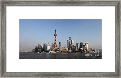 Shanghai Skyline Framed Print by Thomas Marchessault