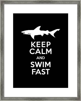 Shark Keep Calm And Swim Fast Framed Print by Antique Images