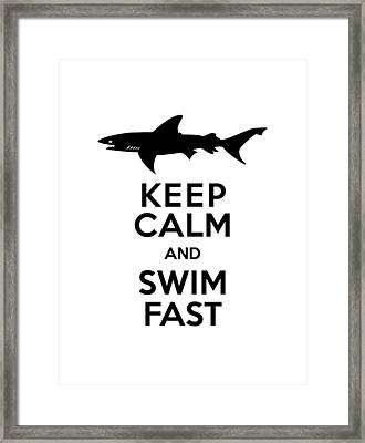 Sharks Keep Calm And Swim Fast Framed Print by Antique Images