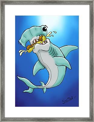 Sharks That Eat Cake Hammerhead Framed Print by Sean Williamson