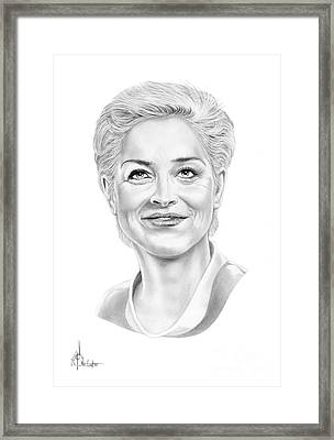 Sharon Stone Framed Print by Murphy Elliott