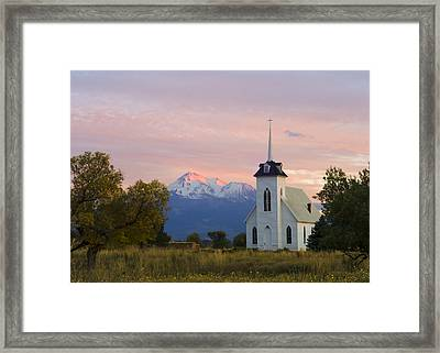 Shasta Alpenglow With Historic Church Framed Print by Loree Johnson