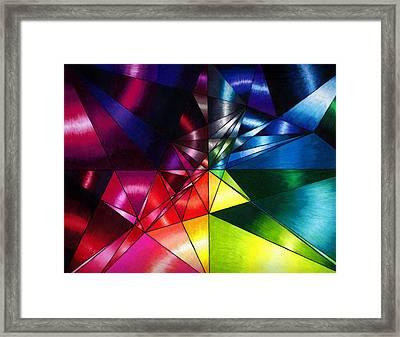 Shattered Rainbow Triangles Optical Art Framed Print by Nalinne Jones