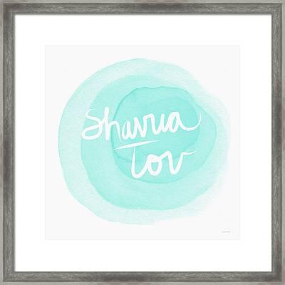 Shavua Tov Blue And White- Art By Linda Woods Framed Print by Linda Woods