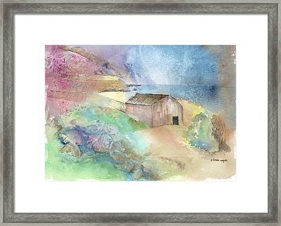 Shed By A Lake In Ireland Framed Print by Arline Wagner