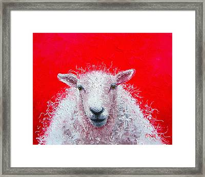 Sheep Painting Victor Framed Print by Jan Matson