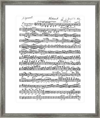 Sheet Music For The Overture To Egmont Framed Print by Beethoven