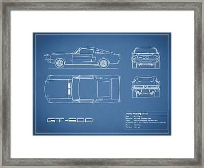 Shelby Mustang Gt500 Blueprint Framed Print by Mark Rogan