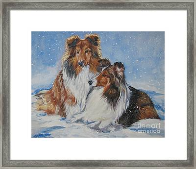 Sheltie Pair Framed Print by Lee Ann Shepard