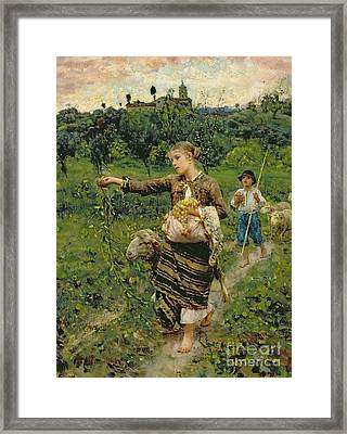 Shepherdess Carrying A Bunch Of Grapes Framed Print by Francesco Paolo Michetti