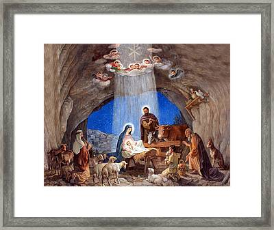 Shepherds Field Nativity Painting Framed Print by Munir Alawi