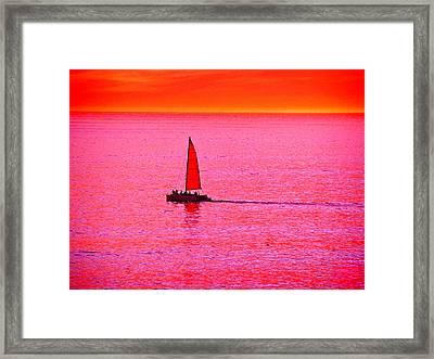 Sherbert Sunset Sail Framed Print by Michael Durst