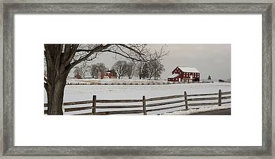 Sherfy Farm In The Snow At Gettysburg Framed Print by Greg Dale