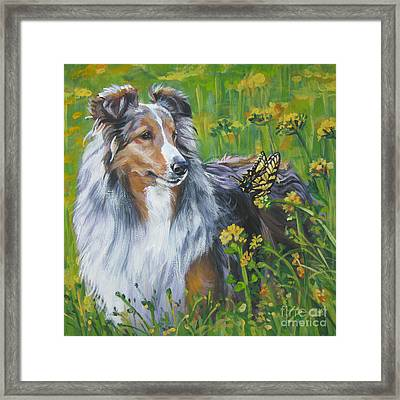 Shetland Sheepdog Wildflowers Framed Print by Lee Ann Shepard