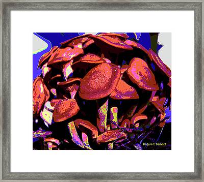 Shimmering Shrooms Framed Print by DigiArt Diaries by Vicky B Fuller